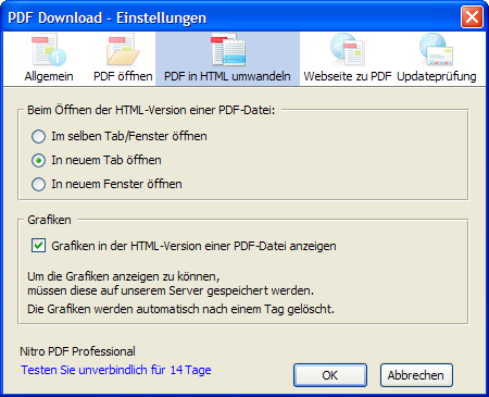PDF Download - Einstellungen - PDF in HTML umwandeln